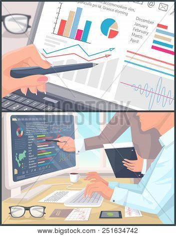 Business Statistics And Analytics Color Poster, Vector Illustration With Office Employees Analyzing