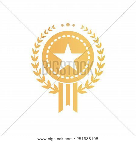 Gold Certificate Sign In Form Of Star Inside Circle Surrounded With Laurel Wreath. Approval Logo For