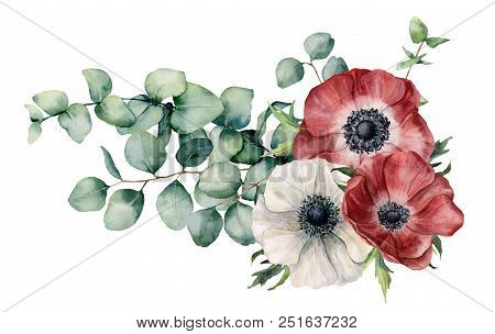 Watercolor Asymmetric Bouquet With Anemone And Eucalyptus. Hand Painted Red And White Flowers, Eucal