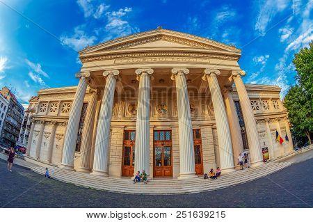 Bucharest,romania-july 17,2018: The Romanian Athenaeum, Built 1886-1888 With 800 Seats,41 M High,6 C