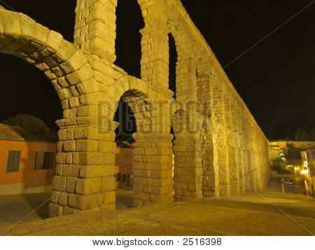 Aquaduct And Far City Wall In Segovia