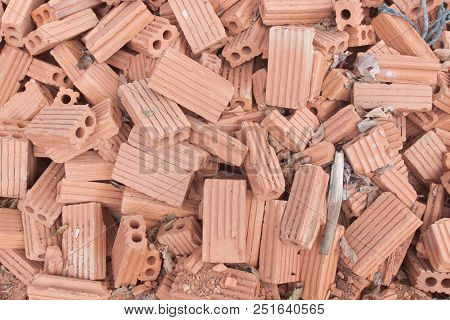 Pile Of Red Clay Brick (background And Texture)