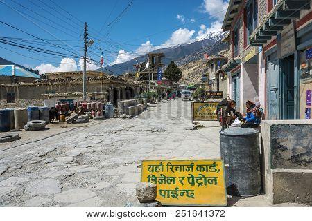 Jomson, Nepal-09.04.2018: Narrow Village Street In Mountain Village 9 April 2018 Jomson, Nepal.