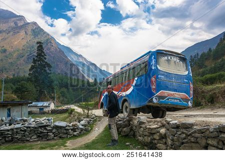 Track Around Annapurna, Nepal-09.04.2018: Bus Stop On Mountain Road 9 April 2018 Track Around Annapu