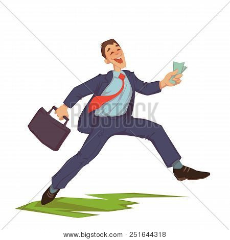 Vector Illustration Of Happy Careless Businessman Throwing Up Money