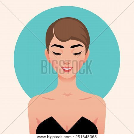 Portrait Of A Young Beautiful Girl In Retro Sixties Style. Portrait In The Style Of Pop Art. Vector