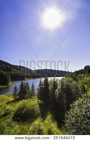 Landscape With Vidra Dam Lake In Parang Mountains, Romania