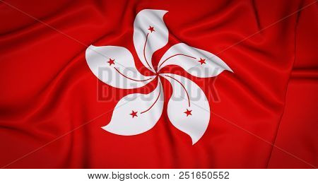 Hong Kong National Flag Background. Wrinkled French Banner Backdrop. 3D Illustration.