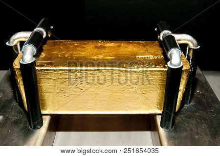 Pure Gold Bar On Display In Vault