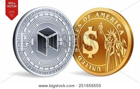 Neo. Dollar Coin. 3d Isometric Physical Coins. Digital Currency. Cryptocurrency. Golden And Silver C