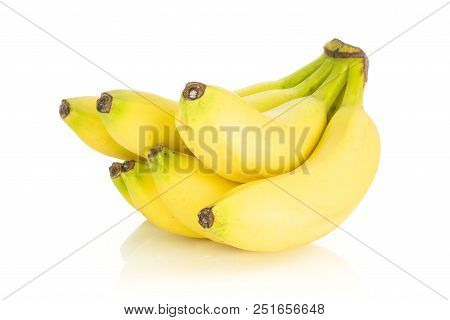 Group Of Six Whole Fresh Yellow Banana One Ripe Cluster Isolated On White Background