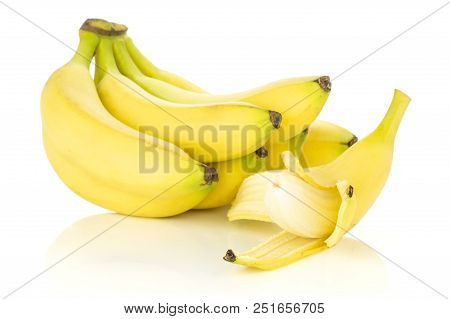 Lot Of Whole Fresh Yellow Banana And One Opened Banana Like A Plane Isolated On White Background