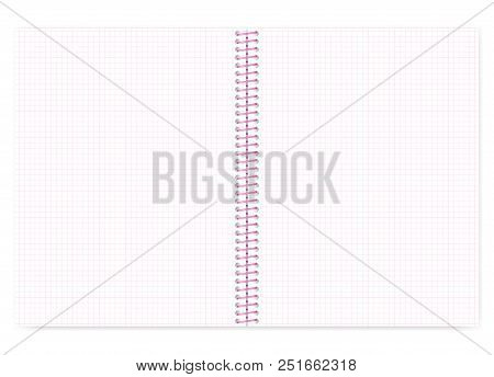 Open Grid Lined Wire Bound Notebook With Pink Spiral, Vector Mock Up. Loose Leaf Notepad Spread Isol