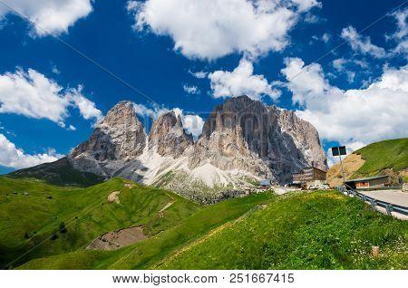 Sassolungo And Sassopiatto Mountains, Italy. Photo From A Hiking Path In Dolomites, Dolomiti, Sella