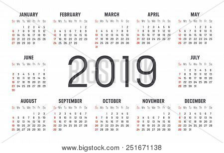 Year 2019 Minimalist Black And Red Calendar, On White Background.