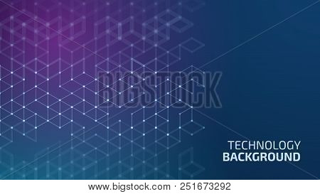 Vector Abstract Boxes Background. Modern Technology Illustration With Square Mesh. Digital Geometric