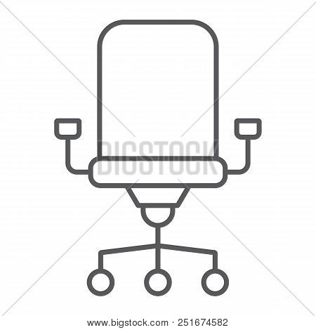 Office Chair Thin Line Icon, Office And Work, Chair Sign, Vector Graphics, A Linear Pattern On A Whi
