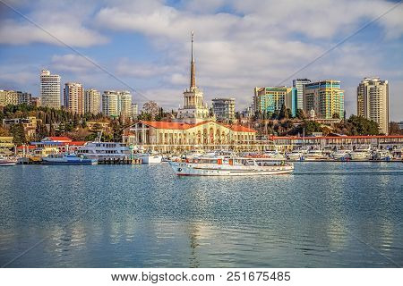 Sochi, Russia - February 23, 2016: Boats And Yachts In The Seaport. Reflection In Water Complements