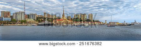 Sochi, Russia - May 30, 2015: Panoramic View Of The Seaside Embankment. The Photo Shows The Central