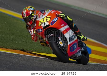 VALENCIA, SPAIN - NOVEMBER 9: Valentino Rossi in the official motogp test with new 1.000cc engines, Ricardo Tormo Circuit of Cheste, Spain on november 9, 2011