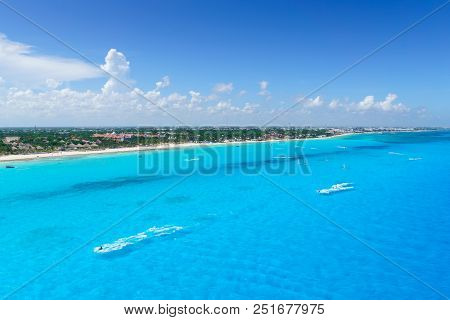 Cancun Mexico From Birds Eye View Cancun's Beaches With Hotels And Turquoise Caribbean Sea