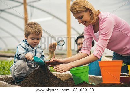 Retro Greenhouse. Retro Greenhouse Concept. Family Working In Retro Greenhouse. Little Boy With Pare