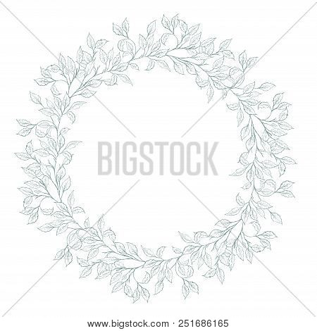 Soft Hand Drawn Geenery Vector Wreath. Delicate Green Garland Made Of Twigs And Leaves. White Backgr