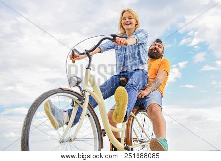 Couple With Bicycle Romantic Date Sky Background. Couple In Love Date Cycling. Explore City. Man And