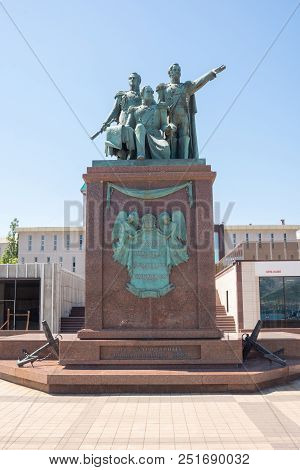 Novorossiysk, Russia - May 3, 2018: Monument To The Founding Fathers Of Novorossiysk Raevsky, Lazare