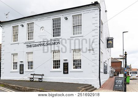 Berwick-upon-tweed, England - April 2018: Building Exterior Of The Leaping Salmon, A Local Pub And R