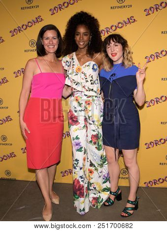 CHICAGO-JUL 25: (L-R) Refinery29 COO Sarah Personette, Kelly Rowland (L) and Refinery29 co-founder Piera Gelardi attend Refinery29's