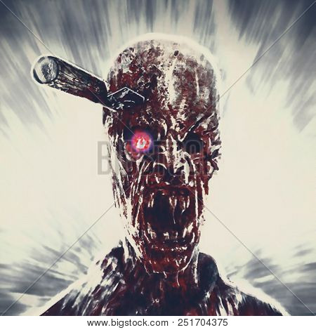 Zombie Clerk With Knife In His Head. Scary Character Illustration.
