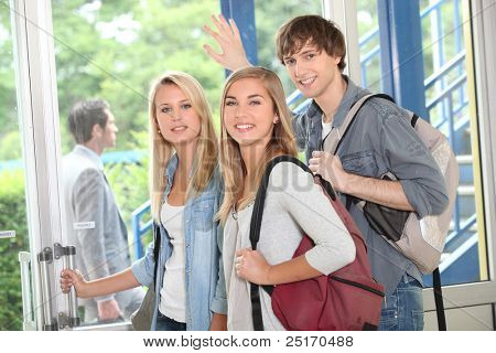 Students leaving poster