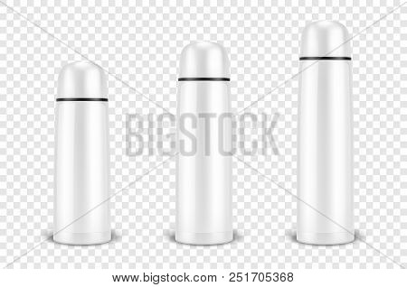 Vector Realistic 3d Different Size - Small, Medium, Large - White Empty Glossy Metal Or Plastic Vacu