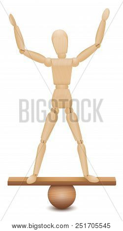 Safe Position. Balancing Act Of A Wooden Figure Standing With A Secure And Confident Feeling And Poi