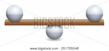 Instable Balance With Three Iron Balls And A Wooden Board. Symbolic For Instability, Insecurity Or A