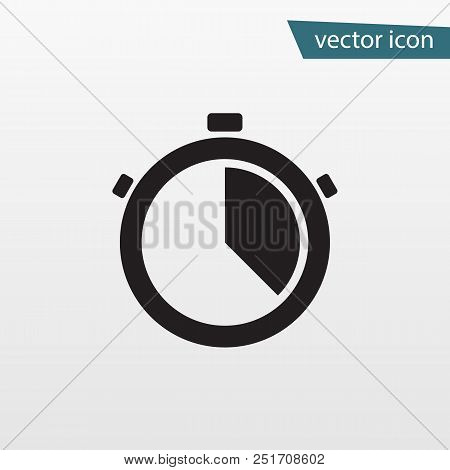 Gray Accurate Time Icon. Modern Simple Flat Stop Watch Sign. Business, Internet Concept. Trendy Cloc