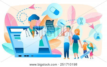 Online Doctor. Telemedicine. Medical Consultation By Internet With Doctor. Medicine And Healthcare C