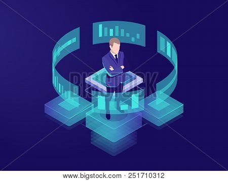 Man Look Graphic Chart, Business Analytics Concept, Big Data Processing Icon, Virtual Reality Interf