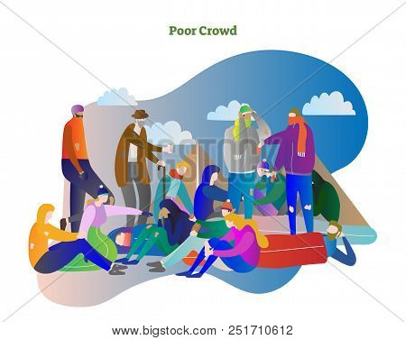 Poor Crowd Vector Illustration. Homeless Man, Woman And Elder People Standing, Sleeping And Talking