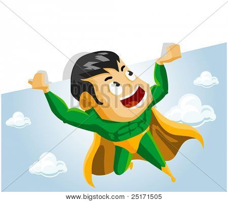 Super hero lifts Sign. Detailed vector Illustration.
