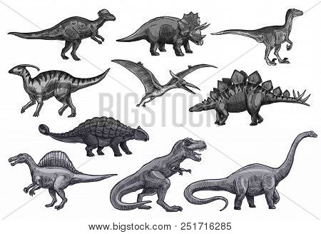 Dinosaurs Sketch Icons For Jurassic Park Design. Vector Isolated Set Of Triceratops Or T-rex, Bronto