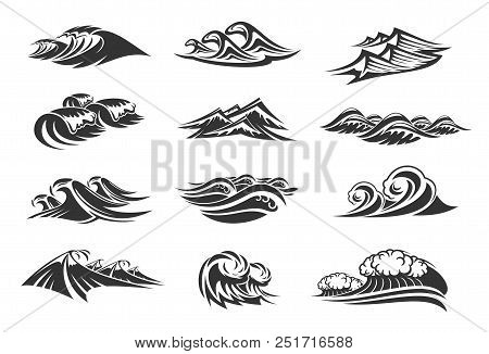 Waves Of Ocean Water Line Icons Set Of Sea Tide Splashes. Vector Isolated Tidal Gales, Marine Waves