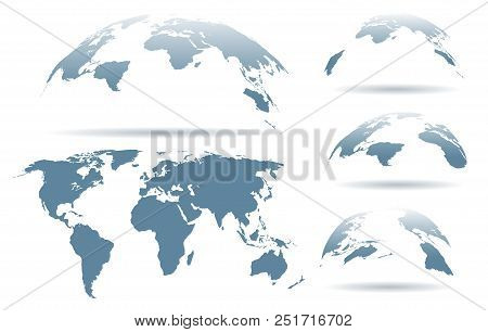 Globe Map. Vector World Map Set, Globe Atlas Silhouettes Isolated On White Background For Business,