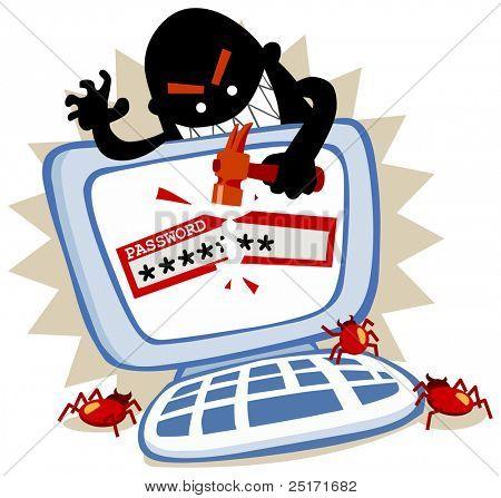 Password hack in internet crime. Vector Illustration