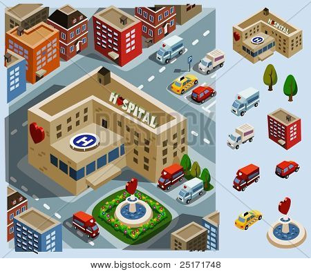 Hospital Area. Set of very detailed isometric vector