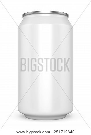 Blank Metal Aluminum Beer Or Soda Can Isolated On White Background. Empty Tin Drink Can Template. 3d