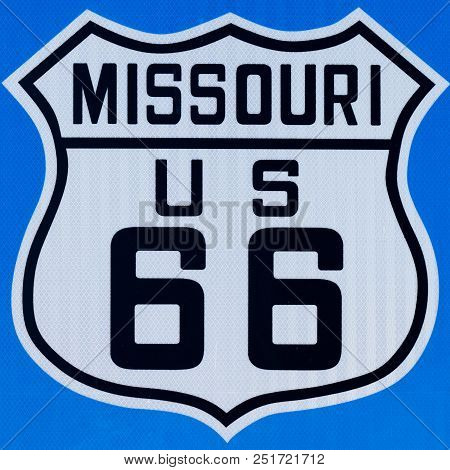 Street Sign With Route 66 In Missouri Street Sign With Route 66 In Missouri