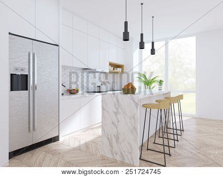 Modern Scandinavian Kitchen And Dinning  Room Interior,wood Table And Chair With White Counter ,pant