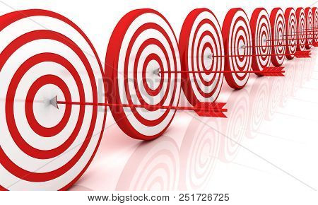 Arrows Hitting The Center Of Target - Success Business Concept. 3d Image Renderer
